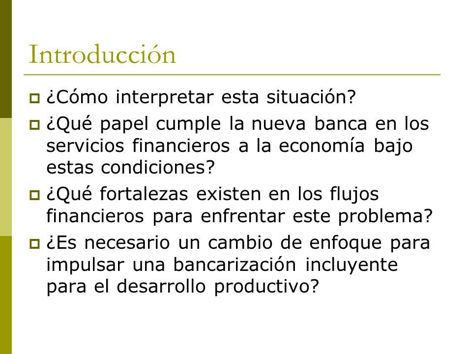 Introducción ¿Cómo interpretar esta situación? ¿Qué papel cumple la nueva banca en los servicios financieros a la economía bajo estas condiciones? ¿Qu