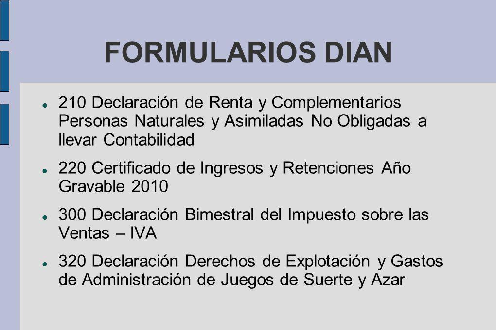 FORMULARIOS DIAN 210 Declaración de Renta y Complementarios Personas Naturales y Asimiladas No Obligadas a llevar Contabilidad 220 Certificado de Ingr