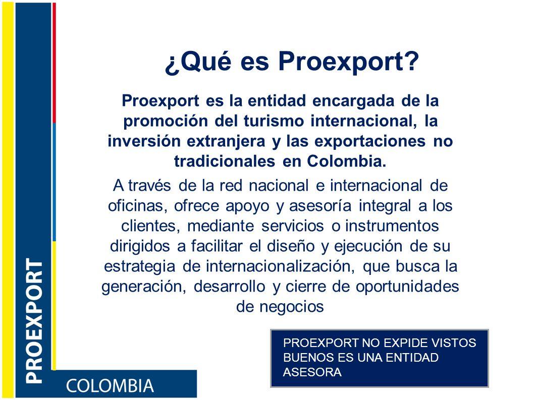 Misión Contribuir al crecimiento económico del país a través de la promoción de exportaciones de bienes y servicios, turismo internacional, inversión extranjera en Colombia, apoyados de la estrategia de competitividad Imagen País que persigue disminuir la brecha entre la percepción que se tiene del país y la realidad.