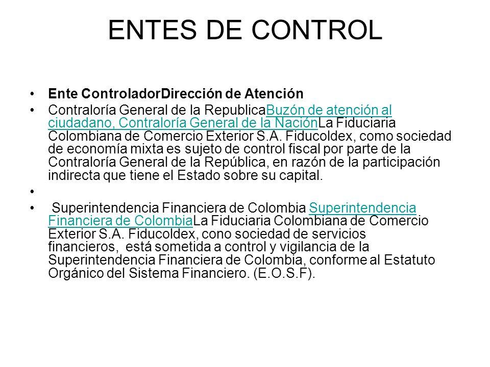 ENTES DE CONTROL Ente ControladorDirección de Atención Contraloría General de la RepublicaBuzón de atención al ciudadano, Contraloría General de la NaciónLa Fiduciaria Colombiana de Comercio Exterior S.A.