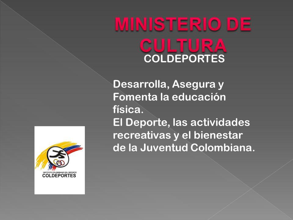 COLDEPORTES Desarrolla, Asegura y Fomenta la educación física.