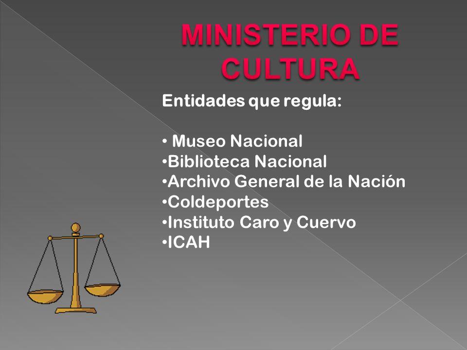 Entidades que regula: Museo Nacional Biblioteca Nacional Archivo General de la Nación Coldeportes Instituto Caro y Cuervo ICAH