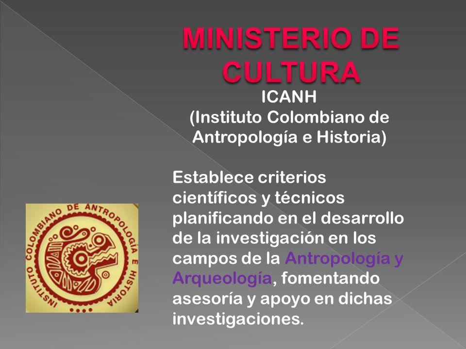 ICANH (Instituto Colombiano de Antropología e Historia) Establece criterios científicos y técnicos planificando en el desarrollo de la investigación en los campos de la Antropología y Arqueología, fomentando asesoría y apoyo en dichas investigaciones.