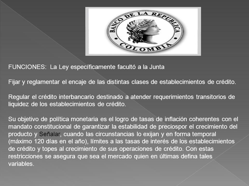 FUNCIONES: La Ley específicamente facultó a la Junta Fijar y reglamentar el encaje de las distintas clases de establecimientos de crédito.