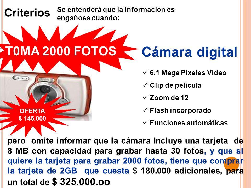 6.1 Mega Pixeles Video Clip de película Zoom de 12 Flash incorporado Funciones automáticas pero omite informar que la cámara Incluye una tarjeta de 8