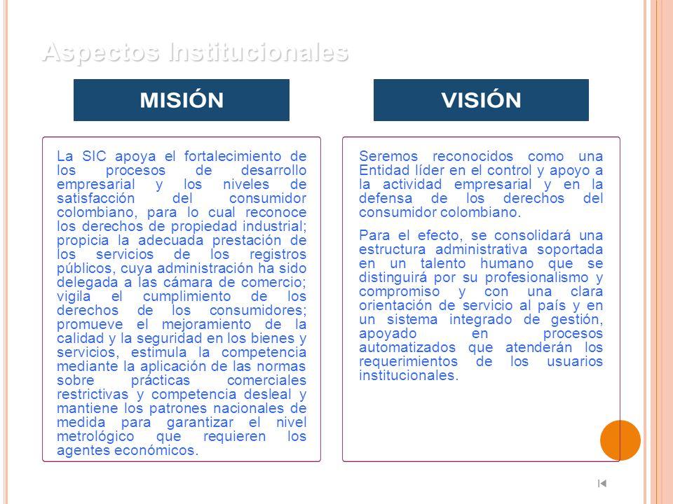 Aspectos Institucionales La SIC apoya el fortalecimiento de los procesos de desarrollo empresarial y los niveles de satisfacción del consumidor colomb