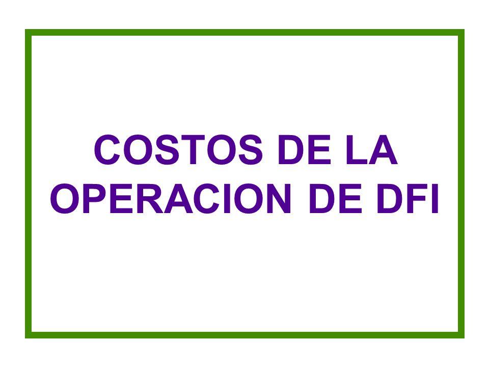 COSTOS DE LA OPERACION DE DFI