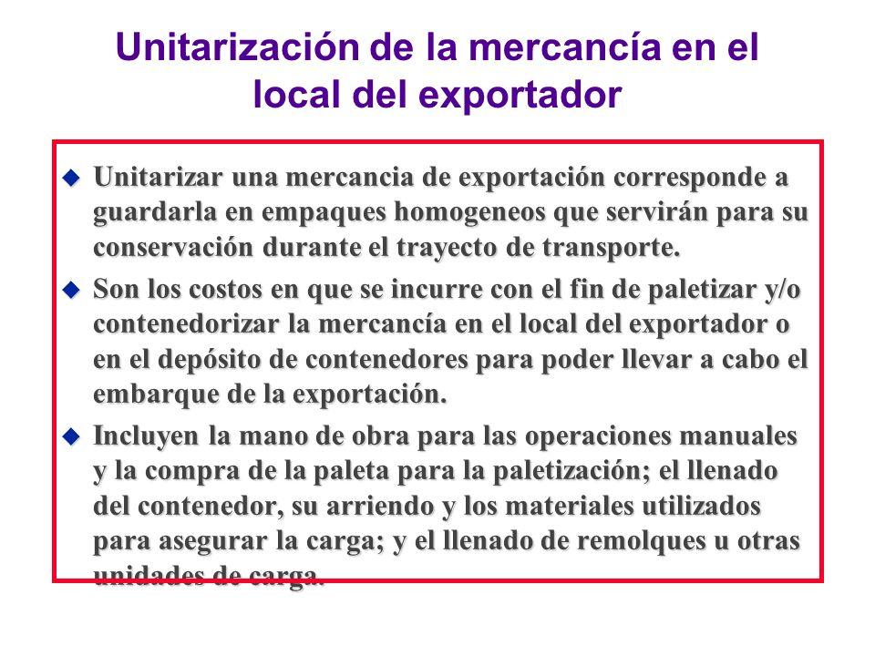 Unitarización de la mercancía en el local del exportador u Unitarizar una mercancia de exportación corresponde a guardarla en empaques homogeneos que