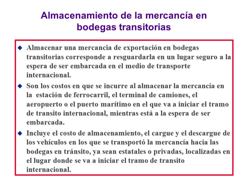 Almacenamiento de la mercancía en bodegas transitorias u Almacenar una mercancia de exportación en bodegas transitorias corresponde a resguardarla en