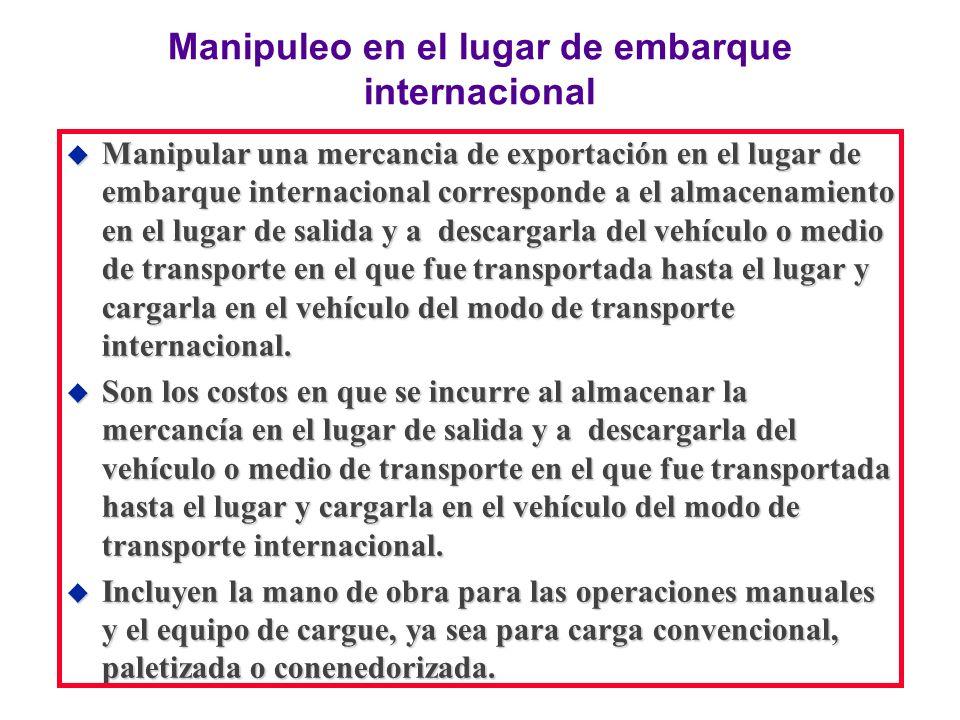 Manipuleo en el lugar de embarque internacional u Manipular una mercancia de exportación en el lugar de embarque internacional corresponde a el almace