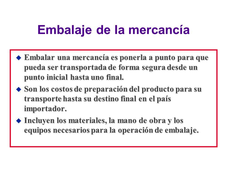 Embalaje de la mercancía u Embalar una mercancía es ponerla a punto para que pueda ser transportada de forma segura desde un punto inicial hasta uno f