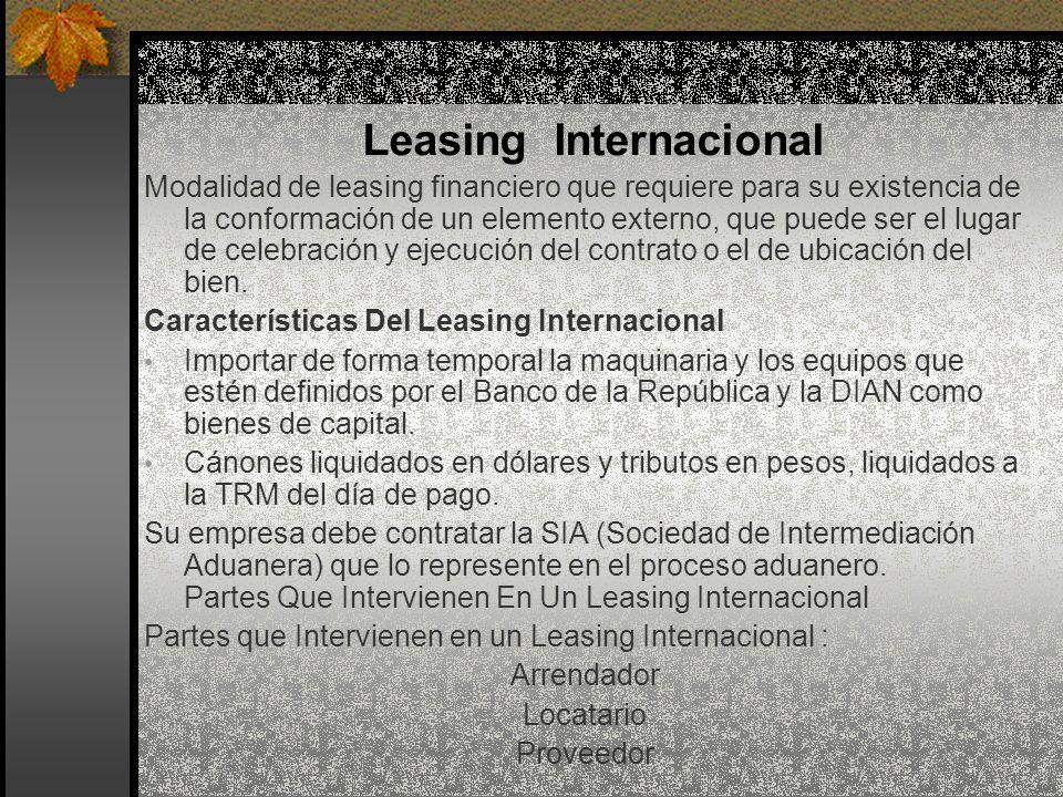 Modalidad de leasing financiero que requiere para su existencia de la conformación de un elemento externo, que puede ser el lugar de celebración y eje