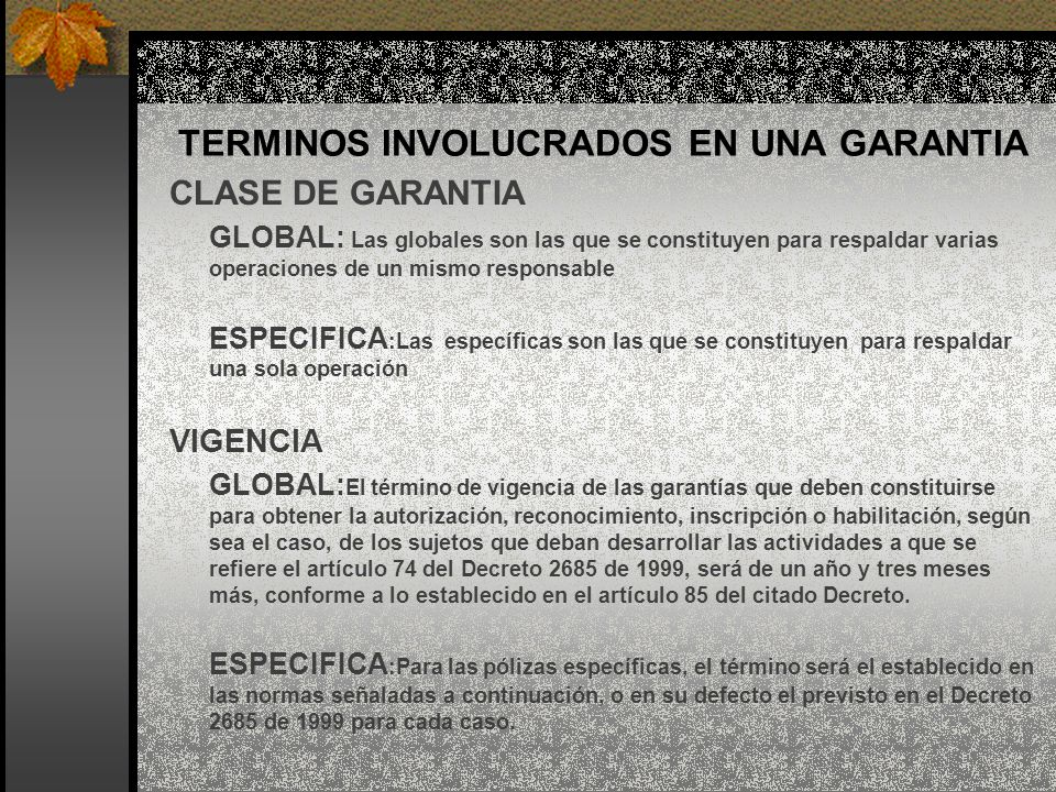 TERMINOS INVOLUCRADOS EN UNA GARANTIA CLASE DE GARANTIA GLOBAL: Las globales son las que se constituyen para respaldar varias operaciones de un mismo