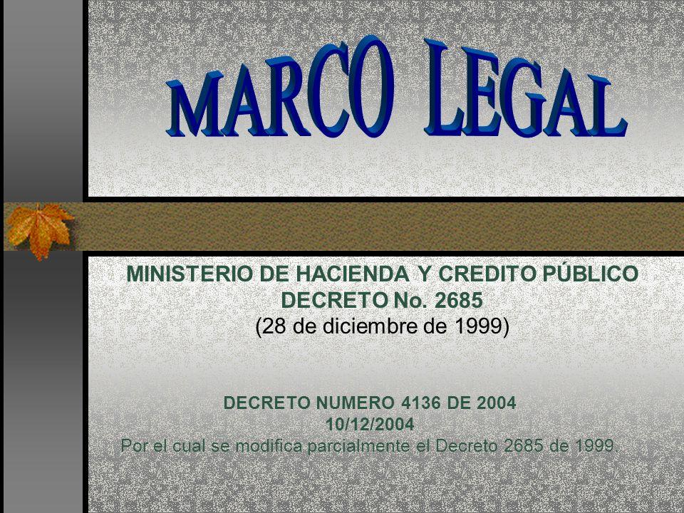 MINISTERIO DE HACIENDA Y CREDITO PÚBLICO DECRETO No. 2685 (28 de diciembre de 1999) DECRETO NUMERO 4136 DE 2004 10/12/2004 Por el cual se modifica par