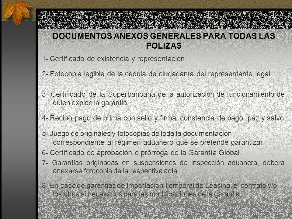 DOCUMENTOS ANEXOS GENERALES PARA TODAS LAS POLIZAS 1- Certificado de existencia y representación 2- Fotocopia legible de la cédula de ciudadanía del r