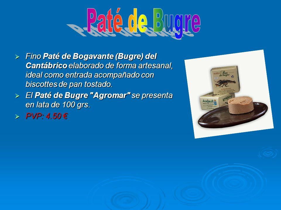 Fino Paté de Bogavante (Bugre) del Cantábrico elaborado de forma artesanal, ideal como entrada acompañado con biscottes de pan tostado. Fino Paté de B