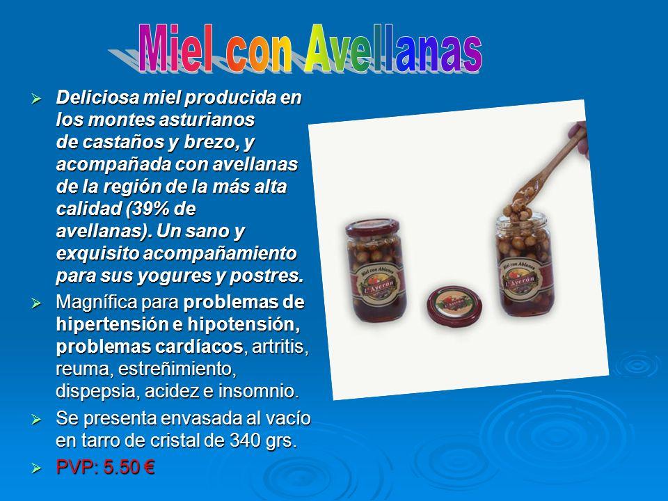 Deliciosa miel producida en los montes asturianos de castaños y brezo, y acompañada con avellanas de la región de la más alta calidad (39% de avellana