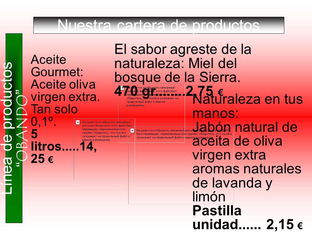 Nuestra cartera de productos Línea de productos OBANDO Aceite Gourmet: Aceite oliva virgen extra. Tan solo 0,1º. 5 litros.....14, 25 El sabor agreste