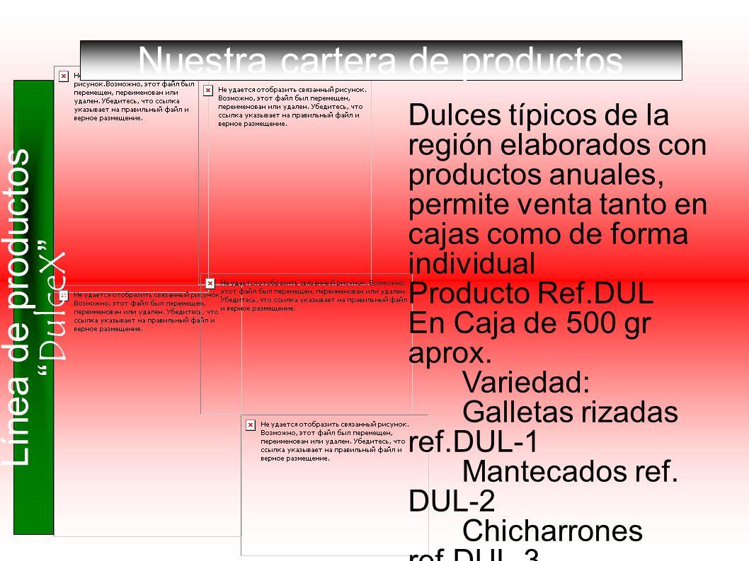 Línea de productos DulceX Nuestra cartera de productos Dulces típicos de la región elaborados con productos anuales, permite venta tanto en cajas como