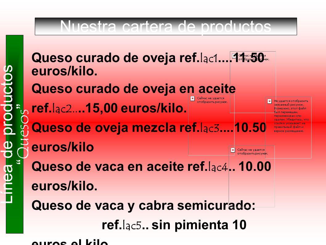 Nuestra cartera de productos Línea de productos Quesos Queso curado de oveja ref. lac1....11.50 euros/kilo. Queso curado de oveja en aceite ref. lac2.