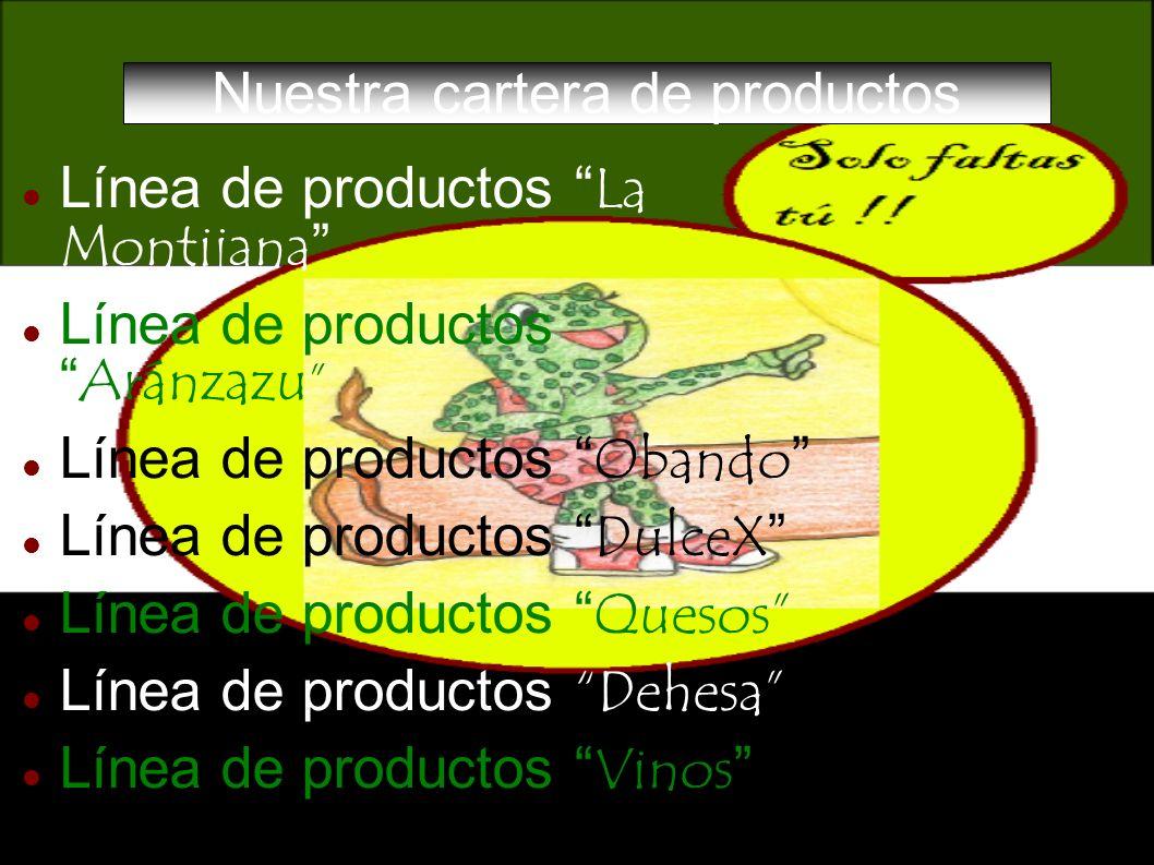 Nuestra cartera de productos Línea de productos La Montijana Línea de productos Aránzazu Línea de productos Obando Línea de productos DulceX Línea de
