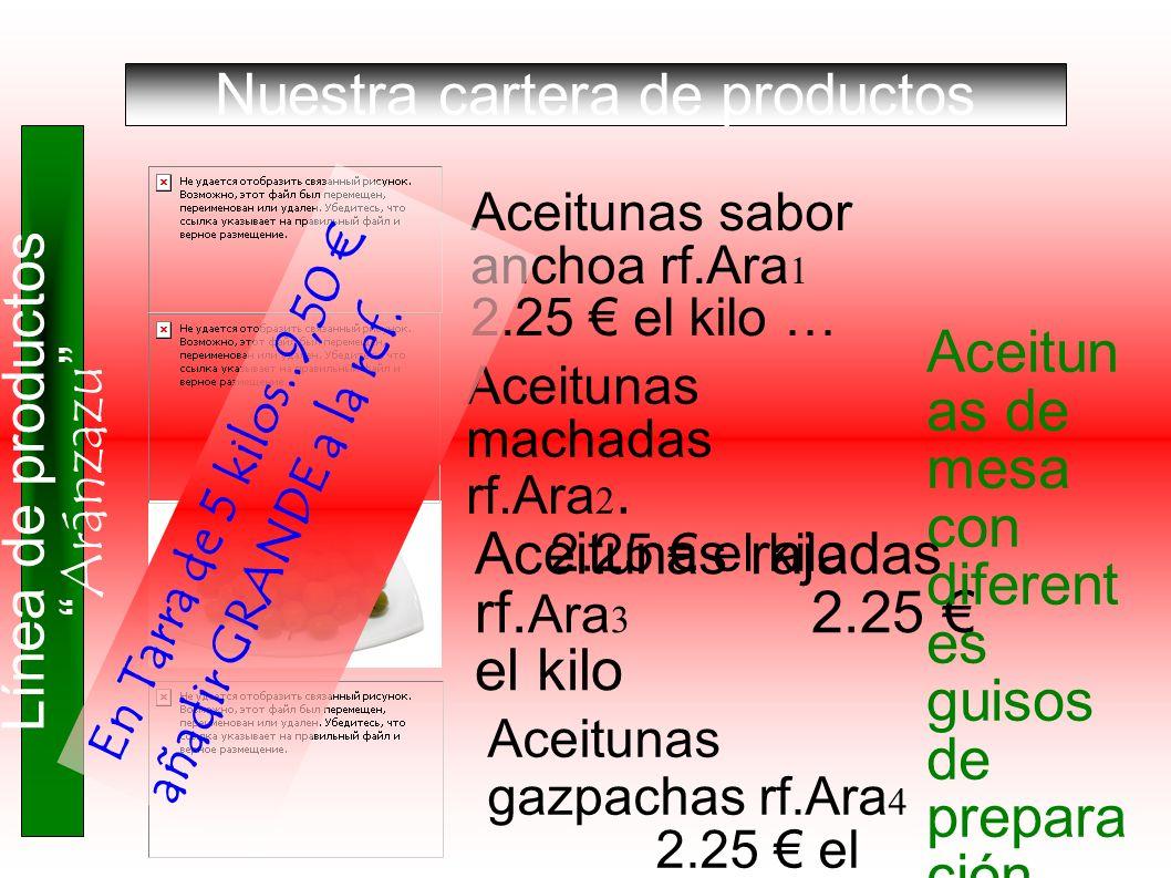 Aceitunas sabor anchoa rf.Ara 1 2.25 el kilo … Aceitunas machadas rf.Ara 2. 2.25 el kilo Aceitunas rajadas rf. Ara 3 2.25 el kilo Aceitunas gazpachas