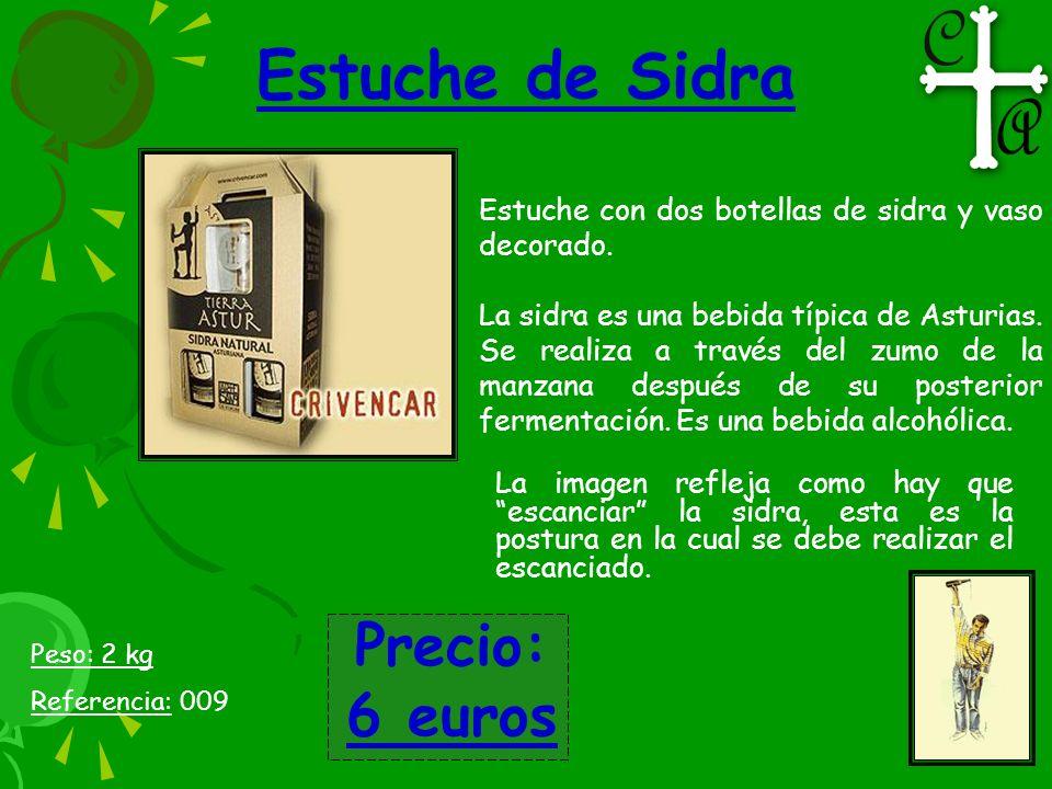 Estuche de Sidra Estuche con dos botellas de sidra y vaso decorado. La sidra es una bebida típica de Asturias. Se realiza a través del zumo de la manz