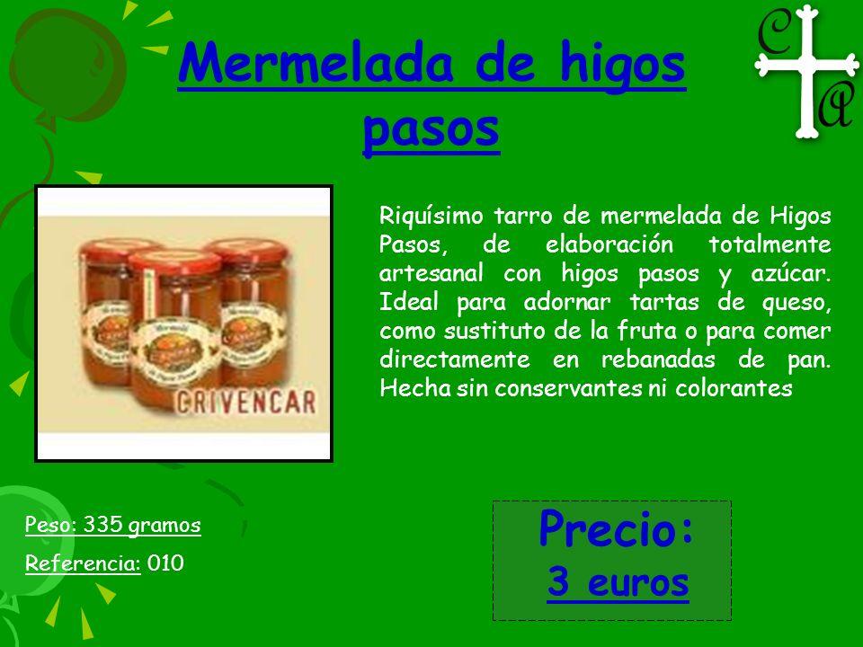 Mermelada de higos pasos Riquísimo tarro de mermelada de Higos Pasos, de elaboración totalmente artesanal con higos pasos y azúcar. Ideal para adornar