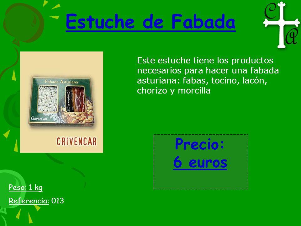 Estuche de Fabada Este estuche tiene los productos necesarios para hacer una fabada asturiana: fabas, tocino, lacón, chorizo y morcilla Peso: 1 kg Ref