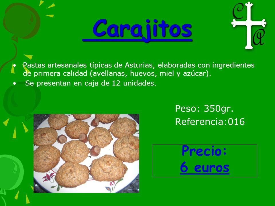 Carajitos Carajitos Pastas artesanales típicas de Asturias, elaboradas con ingredientes de primera calidad (avellanas, huevos, miel y azúcar). Se pres