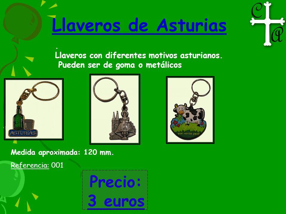 Llaveros de Asturias. Llaveros con diferentes motivos asturianos. Pueden ser de goma o metálicos Medida aproximada: 120 mm. Referencia: 001 Precio: 3