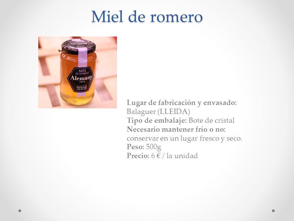Miel de romero Lugar de fabricación y envasado: Balaguer (LLEIDA) Tipo de embalaje: Bote de cristal Necesario mantener frío o no: conservar en un luga