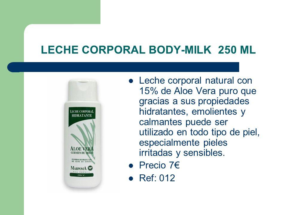 LECHE CORPORAL BODY-MILK 250 ML Leche corporal natural con 15% de Aloe Vera puro que gracias a sus propiedades hidratantes, emolientes y calmantes pue