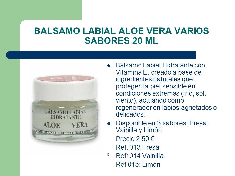 BALSAMO LABIAL ALOE VERA VARIOS SABORES 20 ML Bálsamo Labial Hidratante con Vitamina E, creado a base de ingredientes naturales que protegen la piel s