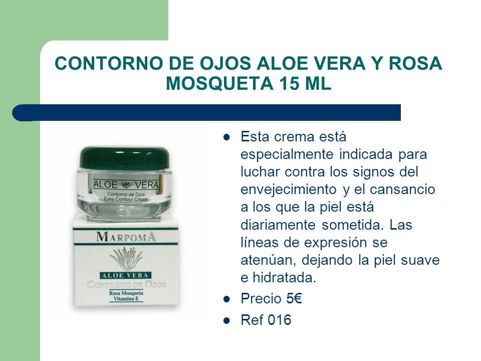 CONTORNO DE OJOS ALOE VERA Y ROSA MOSQUETA 15 ML Esta crema está especialmente indicada para luchar contra los signos del envejecimiento y el cansanci