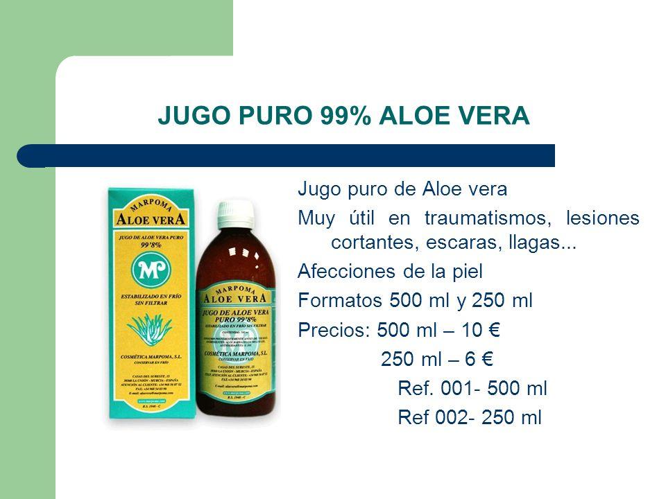 JUGO PURO 99% ALOE VERA Jugo puro de Aloe vera Muy útil en traumatismos, lesiones cortantes, escaras, llagas... Afecciones de la piel Formatos 500 ml
