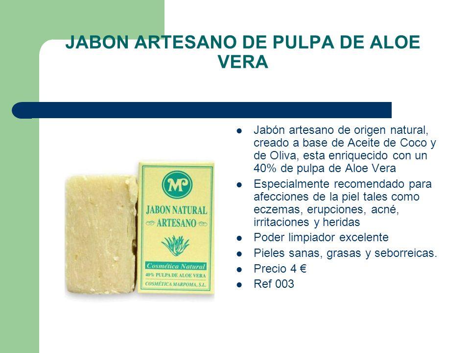 JABON ARTESANO DE PULPA DE ALOE VERA Jabón artesano de origen natural, creado a base de Aceite de Coco y de Oliva, esta enriquecido con un 40% de pulp