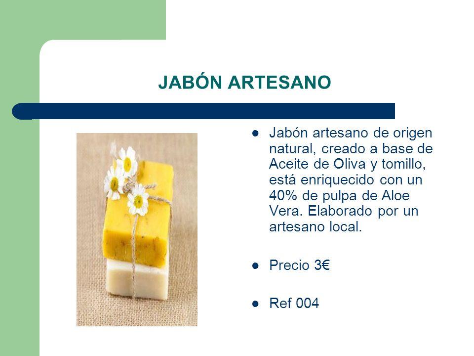 JABÓN ARTESANO Jabón artesano de origen natural, creado a base de Aceite de Oliva y tomillo, está enriquecido con un 40% de pulpa de Aloe Vera. Elabor