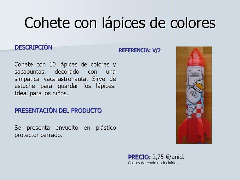 Cohete con lápices de colores DESCRIPCIÓN Cohete con 10 lápices de colores y sacapuntas, decorado con una simpática vaca-astronauta. Sirve de estuche