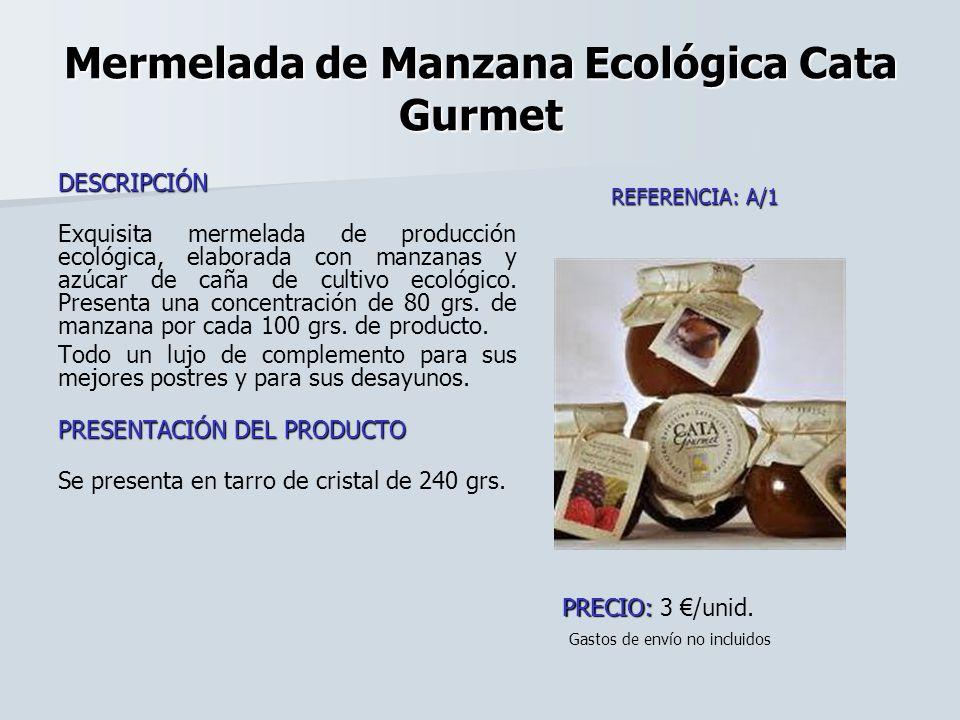 Mermelada de Manzana Ecológica Cata Gurmet DESCRIPCIÓN Exquisita mermelada de producción ecológica, elaborada con manzanas y azúcar de caña de cultivo