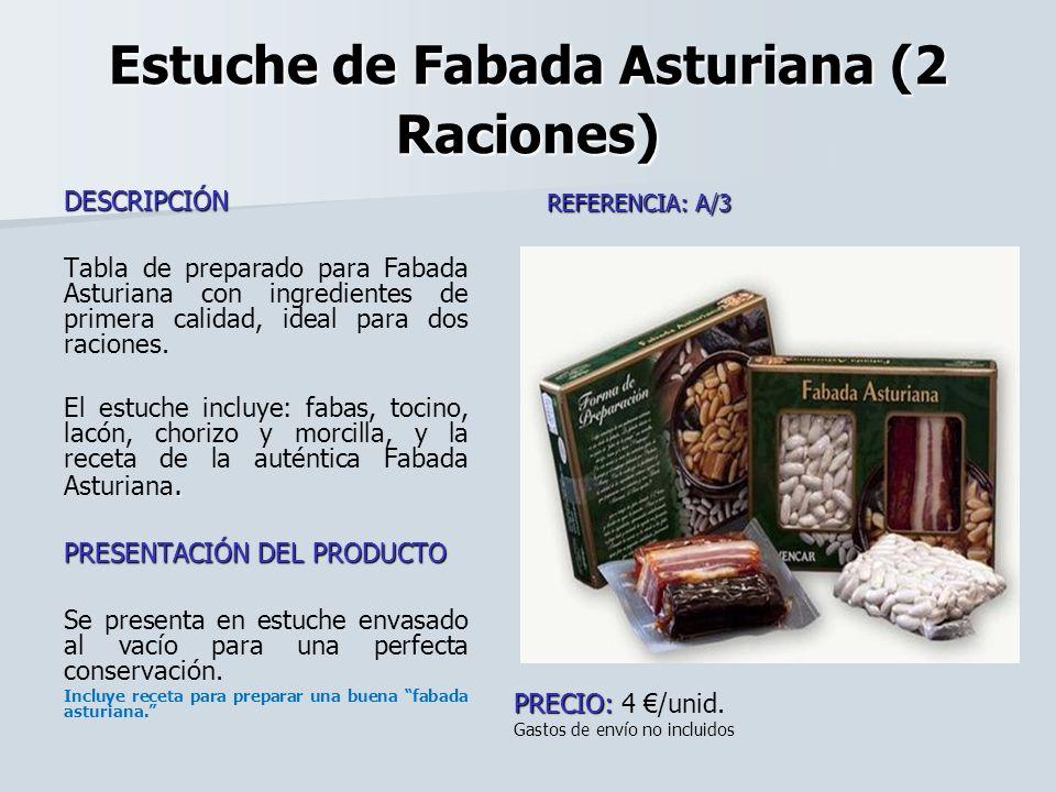 Estuche de Fabada Asturiana (2 Raciones) DESCRIPCIÓN Tabla de preparado para Fabada Asturiana con ingredientes de primera calidad, ideal para dos raci