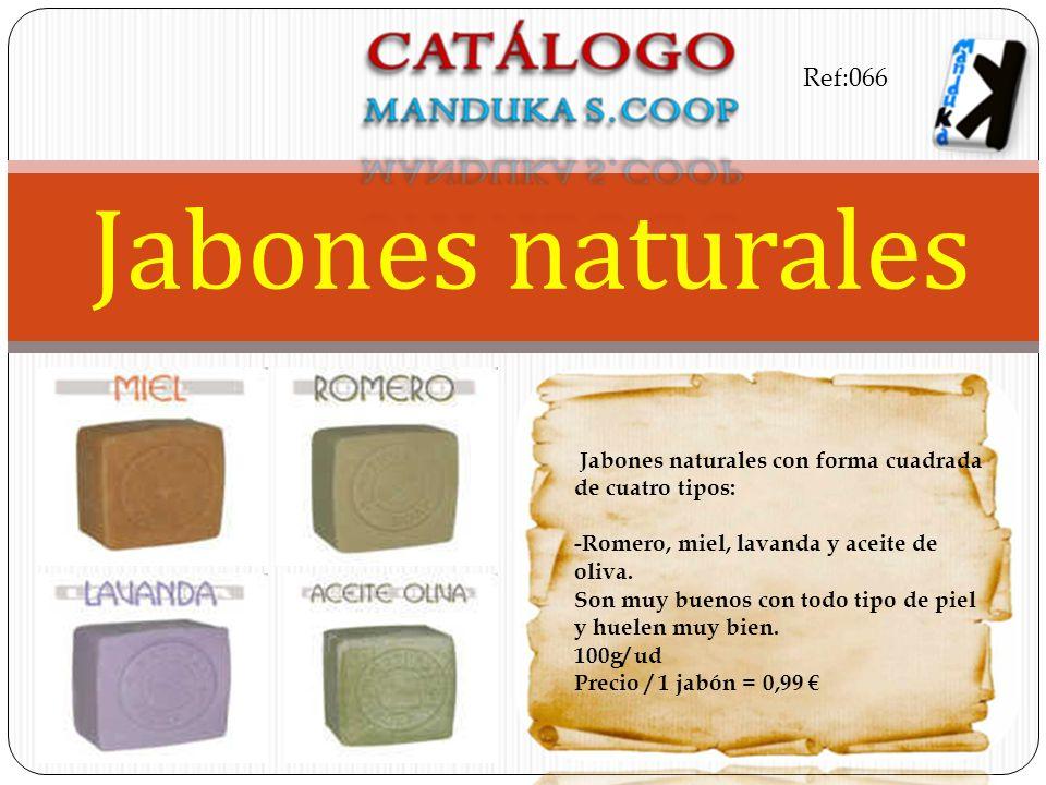Jabones naturales con forma cuadrada de cuatro tipos: -Romero, miel, lavanda y aceite de oliva. Son muy buenos con todo tipo de piel y huelen muy bien