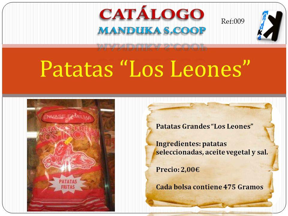 Patatas Grandes Los Leones Ingredientes: patatas seleccionadas, aceite vegetal y sal. Precio: 2,00 Cada bolsa contiene 475 Gramos Patatas Los Leones R