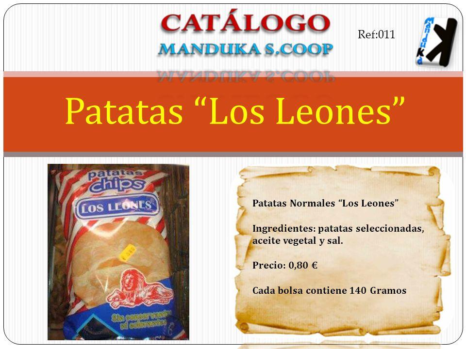 Patatas Normales Los Leones Ingredientes: patatas seleccionadas, aceite vegetal y sal. Precio: 0,80 Cada bolsa contiene 140 Gramos Patatas Los Leones
