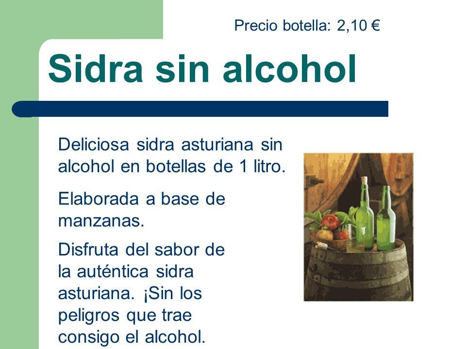 Sidra sin alcohol Deliciosa sidra asturiana sin alcohol en botellas de 1 litro. Elaborada a base de manzanas. Disfruta del sabor de la auténtica sidra