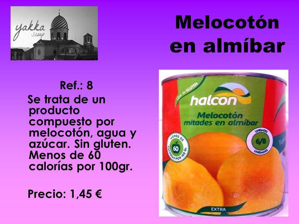 Melocotón en almíbar Ref.: 8 Se trata de un producto compuesto por melocotón, agua y azúcar. Sin gluten. Menos de 60 calorías por 100gr. Precio: 1,45