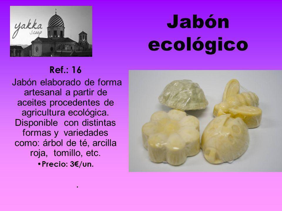 Jabón ecológico Ref.: 16 Jabón elaborado de forma artesanal a partir de aceites procedentes de agricultura ecológica. Disponible con distintas formas
