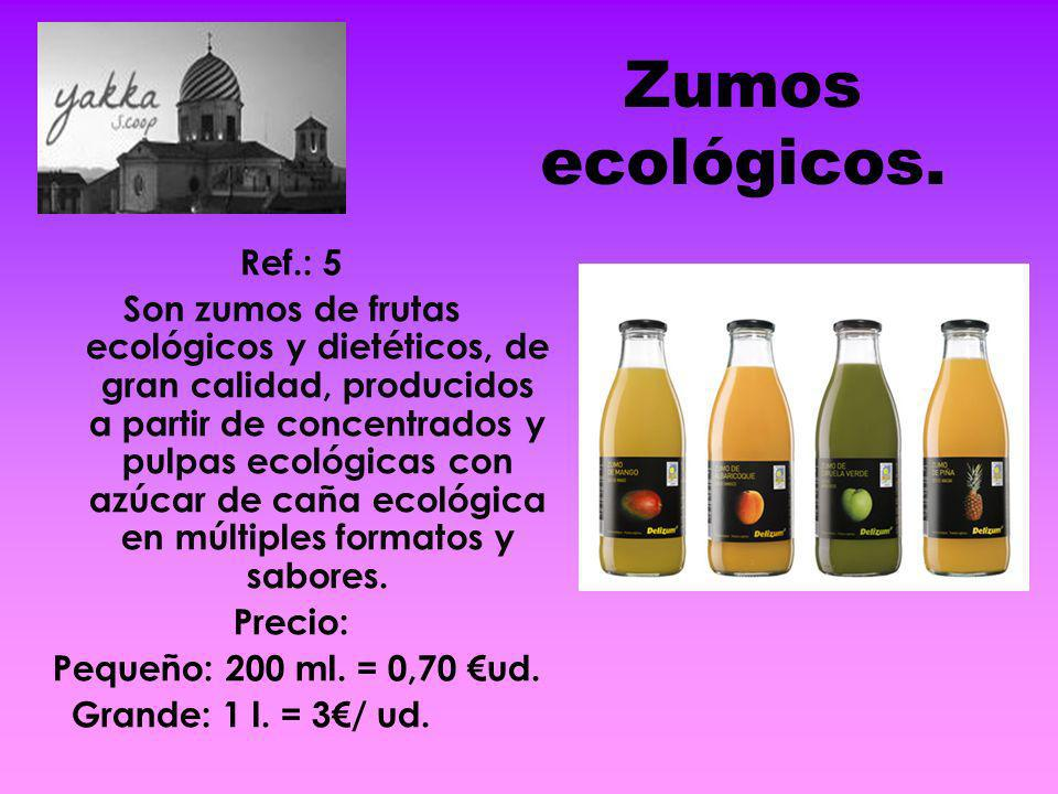 Zumos ecológicos. Ref.: 5 Son zumos de frutas ecológicos y dietéticos, de gran calidad, producidos a partir de concentrados y pulpas ecológicas con az