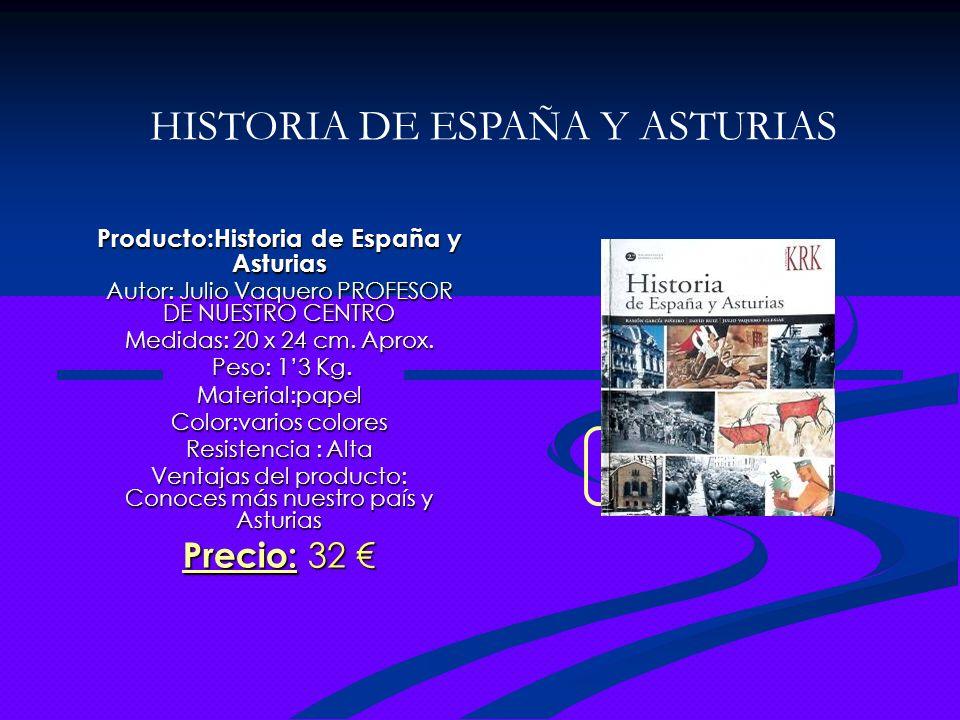 Producto:Historia de España y Asturias Autor: Julio Vaquero PROFESOR DE NUESTRO CENTRO Medidas: 20 x 24 cm. Aprox. Peso: 13 Kg. Peso: 13 Kg.Material:p