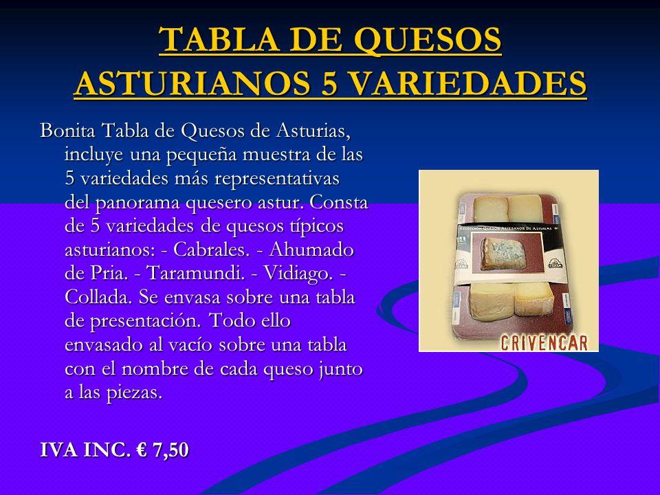 TABLA DE QUESOS ASTURIANOS 5 VARIEDADES TABLA DE QUESOS ASTURIANOS 5 VARIEDADES Bonita Tabla de Quesos de Asturias, incluye una pequeña muestra de las